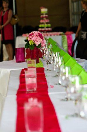 Close up Pink and Green Tables