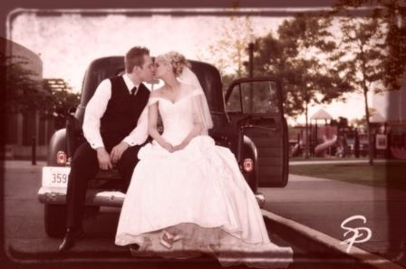 Sepia Image Bride and Groom Kiss